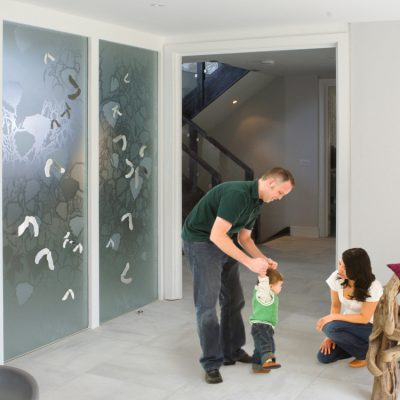 Bespoke decorative etched glass doors
